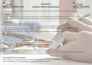 Ortho company: Vacature: Tandtechnicus, Enschede