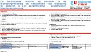 Barrières voor mondzorg bij ouderen in een zorginstelling