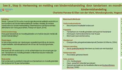 Poster Meldcode kindermishandeling, weinig kennis hierover bij tandartsen en mondhygiënisten