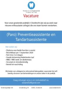 Tandarts Hof Vacature: (Paro) Preventieassistente gezocht Dordrecht