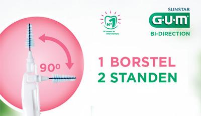 GUM® Bi-Direction – 1 borstel, 2 standen