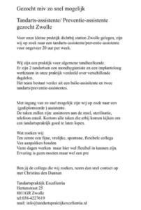 Vacature: per direct tandartsassistente/preventieassistente, Zwolle